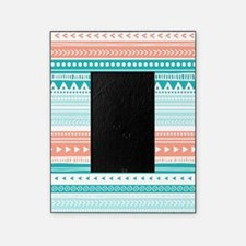 Coral Teal Tribal Vintage Stripes Picture Frame