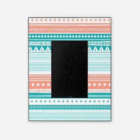 Coral Teal Tribal Vintage Stripes Picture Frame