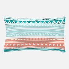 Coral Teal Tribal Vintage Stripes Pillow Case