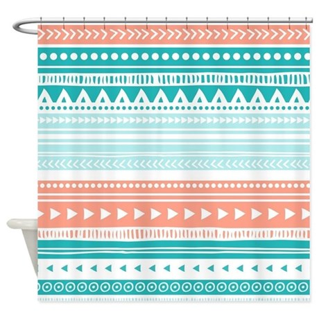 coral teal tribal vintage stripes shower curtain by