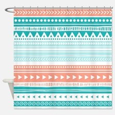 Coral Teal Tribal Vintage Stripes Shower Curtain