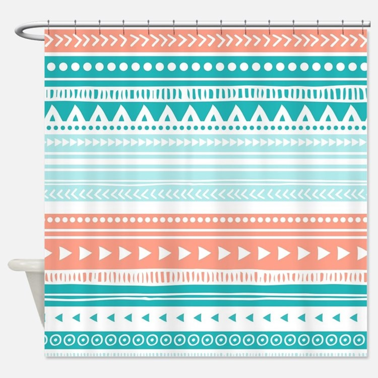 Peach And Teal Shower Curtains Peach And Teal Fabric Shower