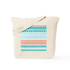 Coral Teal Tribal Vintage Stripes Tote Bag