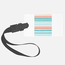Coral Teal Tribal Vintage Stripe Luggage Tag