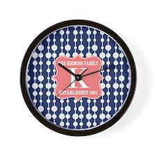 Mod Polka Dots Family Monogram Wall Clock