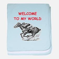 horse racing baby blanket