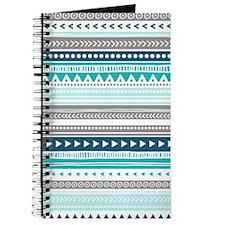 Blue Grey Tribal Vintage Stripes Journal