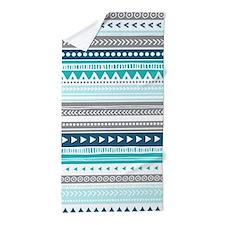 Blue Grey Tribal Vintage Stripes Beach Towel