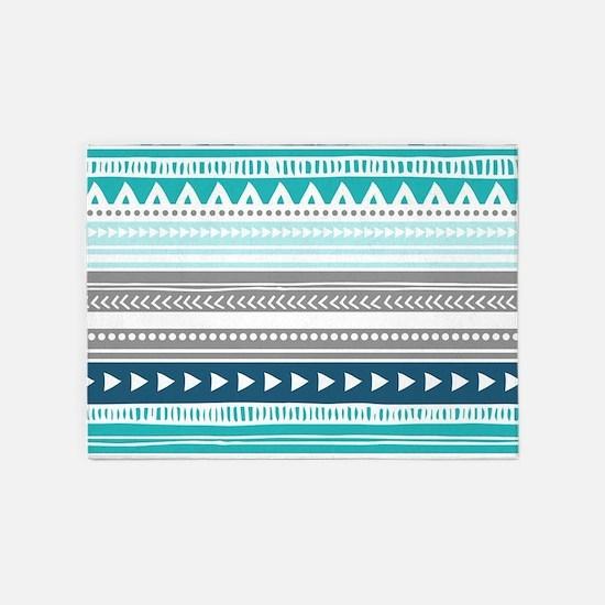 Blue Grey Tribal Vintage Stripes 5'x7'Area Rug
