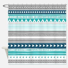 Blue Grey Tribal Vintage Stripes Shower Curtain