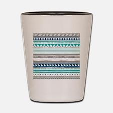 Blue Grey Tribal Vintage Stripes Shot Glass