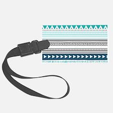 Blue Grey Tribal Vintage Stripes Luggage Tag