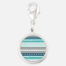 Blue Grey Tribal Vintage Strip Silver Round Charm