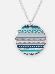 Blue Grey Tribal Vintage Str Necklace