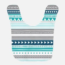 Blue Grey Tribal Vintage Stripes Bib