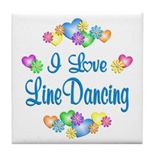 I Love Line Dancing Tile Coaster