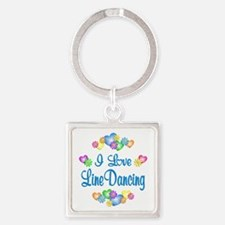 I Love Line Dancing Square Keychain