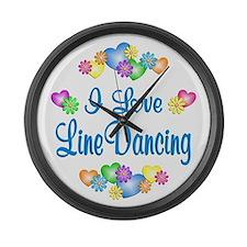 I Love Line Dancing Large Wall Clock