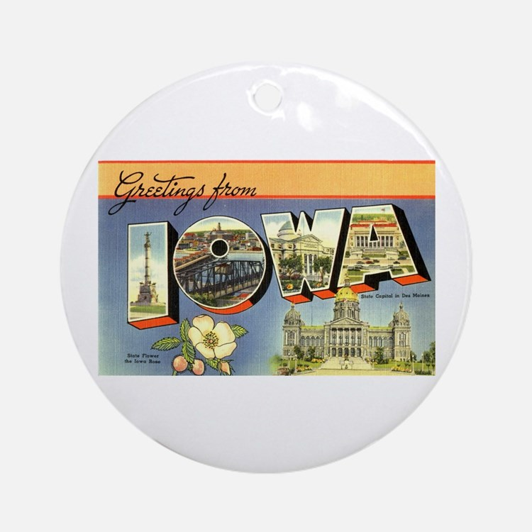 Greetings from Iowa Ornament (Round)
