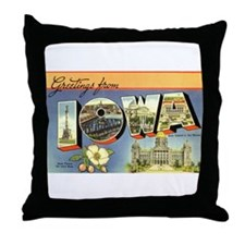 Greetings from Iowa Throw Pillow