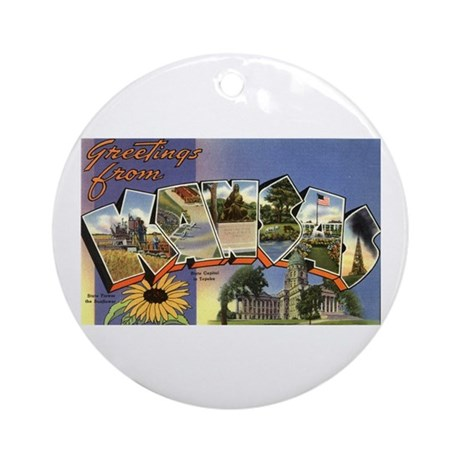 Greetings from Kansas Ornament (Round)