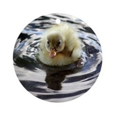 Fuzzy yellow duckling Ornament (Round)