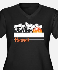Hawaii Women's Plus Size V-Neck Dark T-Shirt
