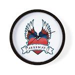 Winged Heart American Tattoo Wall Clock