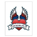 Winged Heart American Tattoo Small Poster