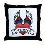 Winged Heart American Tattoo Throw Pillow