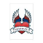 Winged Heart American Tattoo Mini Poster Print