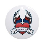 Winged Heart American Tattoo Ornament (Round)