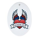 Winged Heart American Tattoo Oval Ornament
