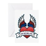 Winged Heart American Tattoo Greeting Cards (Packa
