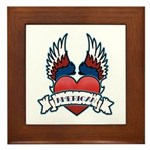 Winged Heart American Tattoo Framed Tile