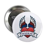 "Winged Heart American Tattoo 2.25"" Button (10 pack"