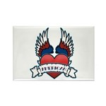Winged Heart American Tattoo Rectangle Magnet (10
