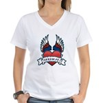 Winged Heart American Tattoo Women's V-Neck T-Shir