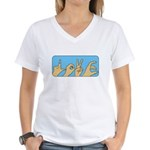 Love & Peace hands Women's V-Neck T-Shirt