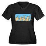 Love & Peace hands Women's Plus Size V-Neck Dark T