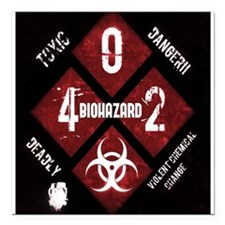 "4 Biohazard 2 Square Car Magnet 3"" x 3"""