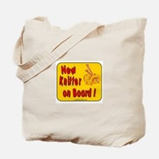 """""""New Knitter on Board!"""" Tote Bag in yellow."""