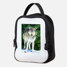 Gray Wolf Forest Neoprene Lunch Bag