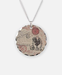 Vintage French Handwriting Paris Rooster Necklace