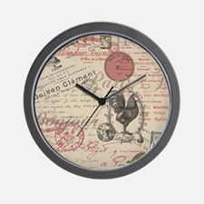 Vintage French Handwriting Paris Rooster Wall Cloc