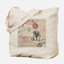 Vintage French Handwriting Paris Rooster Tote Bag