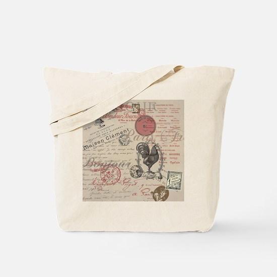 Vintage French Handwriting Paris Rooster Tote Bag