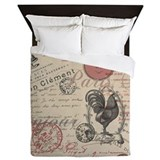 Vintage french script Queen Duvet Covers