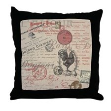 Vintage French Handwriting Paris Rooster Throw Pil
