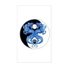 Yin Yang Dragons Blue Rectangle Decal